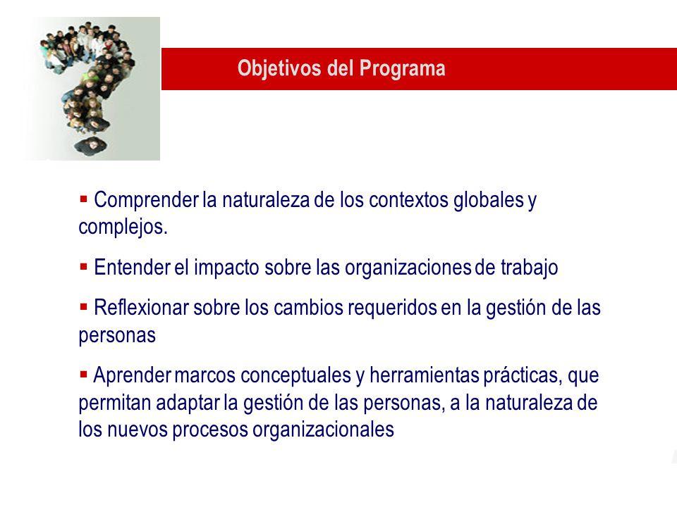 Objetivos del Programa Comprender la naturaleza de los contextos globales y complejos.