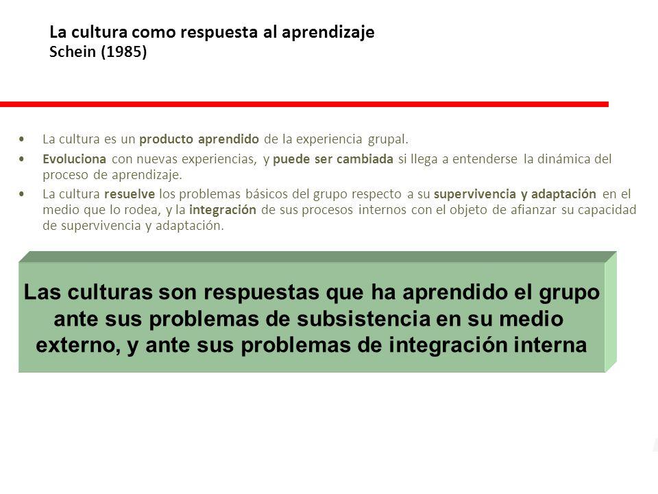 La cultura como respuesta al aprendizaje Schein (1985) La cultura es un producto aprendido de la experiencia grupal.