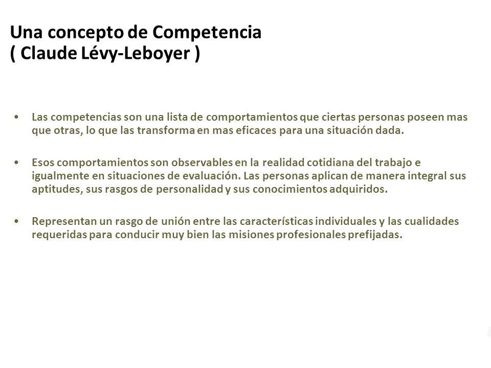 Una concepto de Competencia ( Claude Lévy-Leboyer ) Las competencias son una lista de comportamientos que ciertas personas poseen mas que otras, lo que las transforma en mas eficaces para una situación dada.