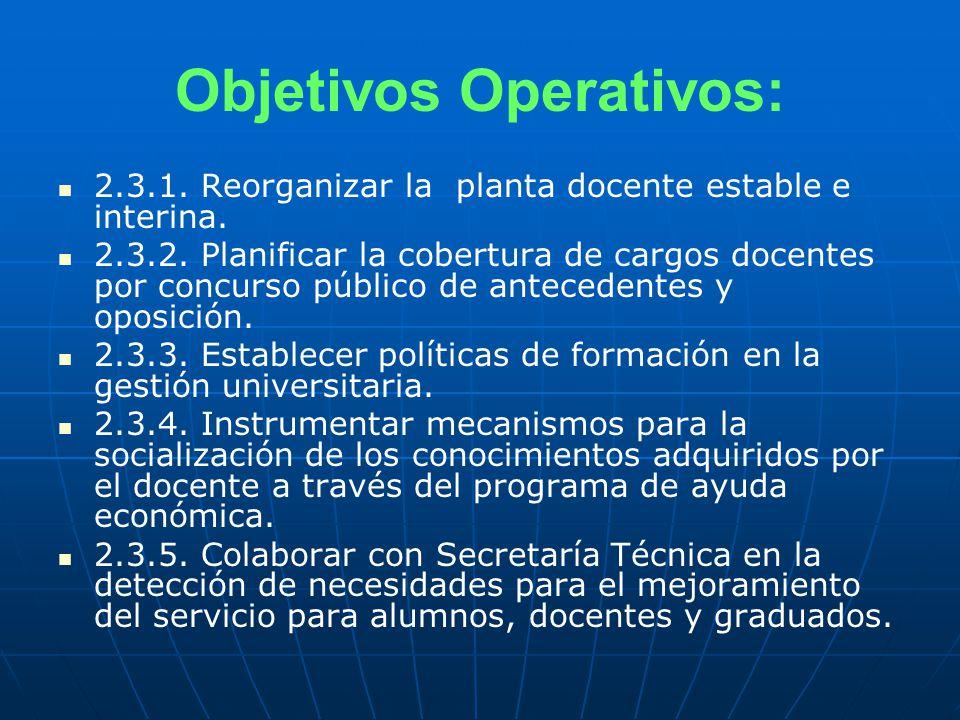 Objetivos Operativos: 2.3.1. Reorganizar la planta docente estable e interina.