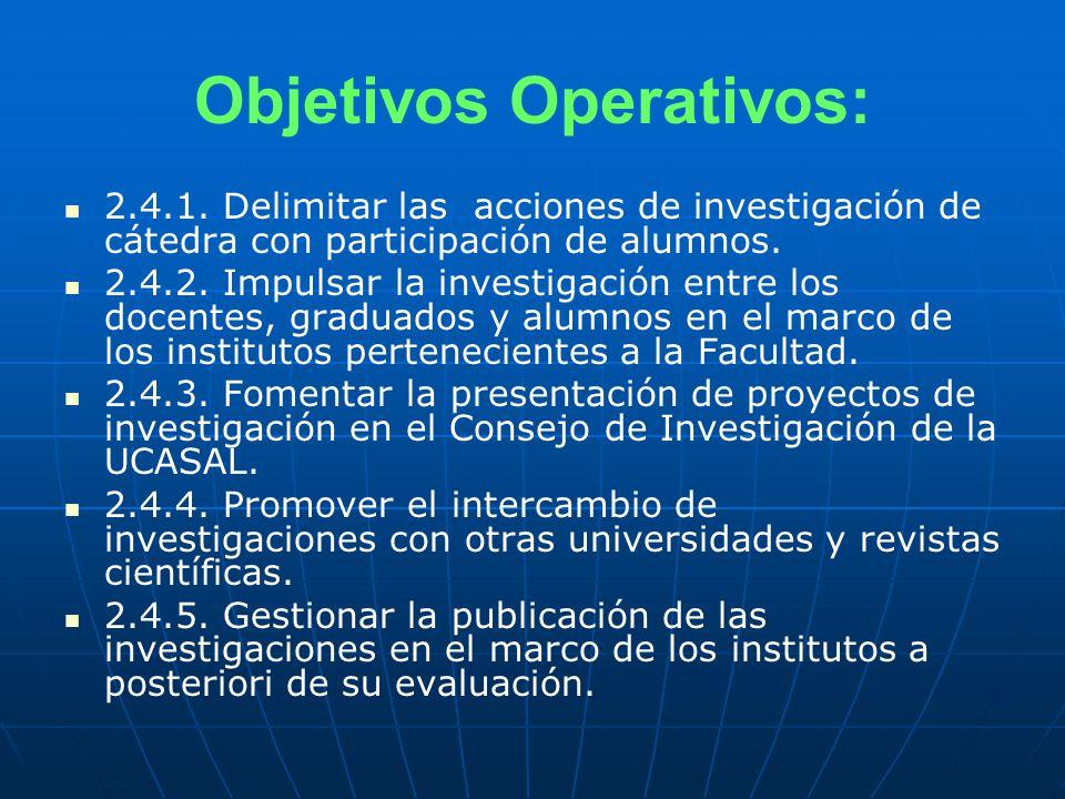 Objetivos Operativos: 2.4.1.