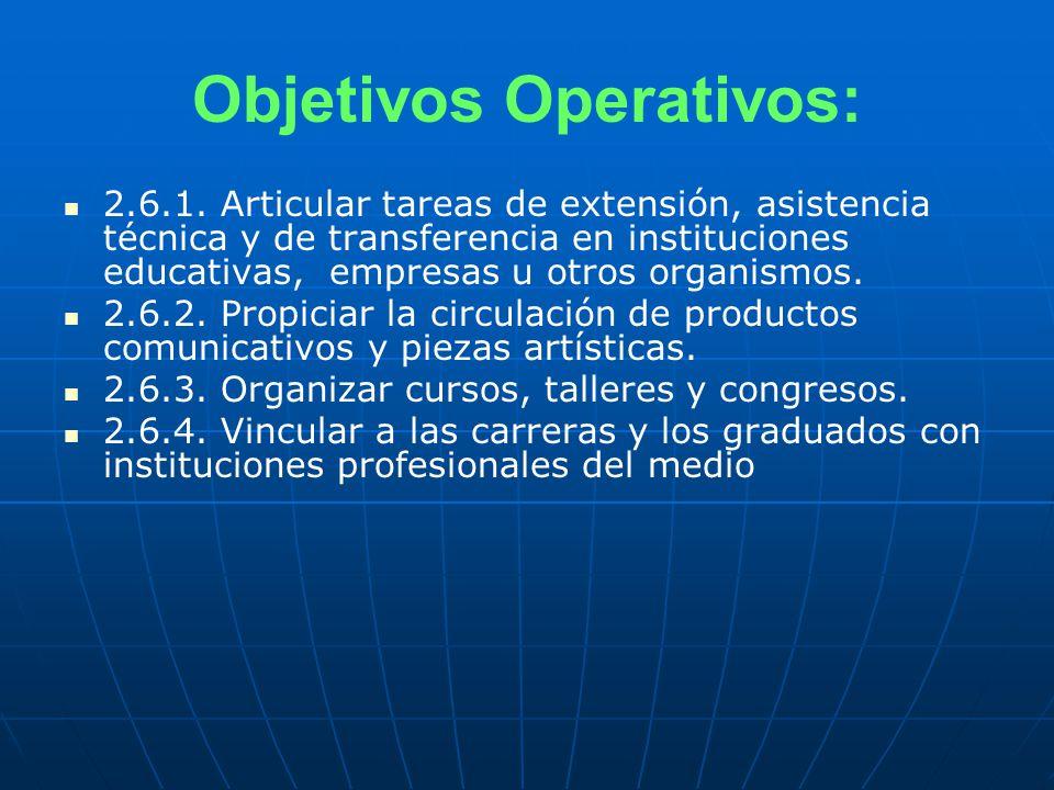 Objetivos Operativos: 2.6.1.