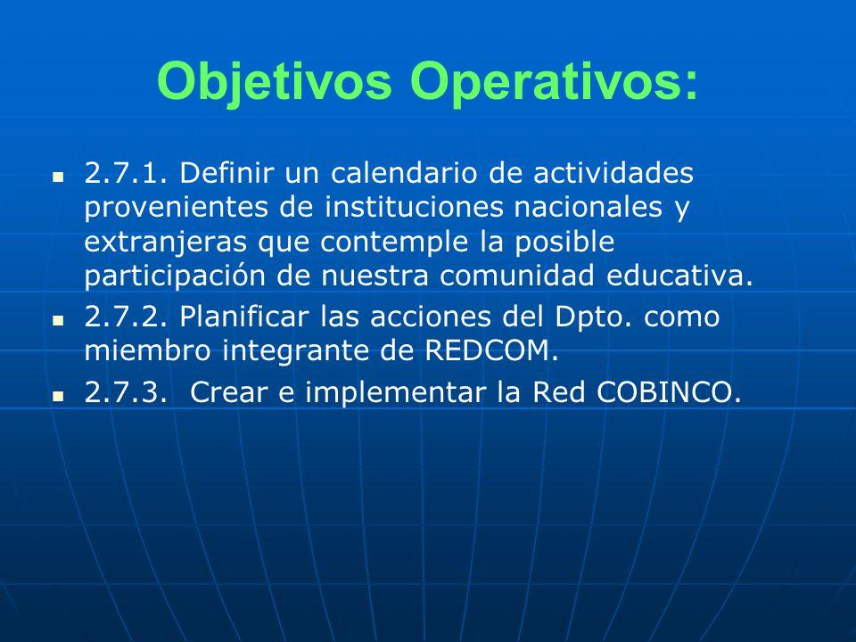 Objetivos Operativos: 2.7.1.
