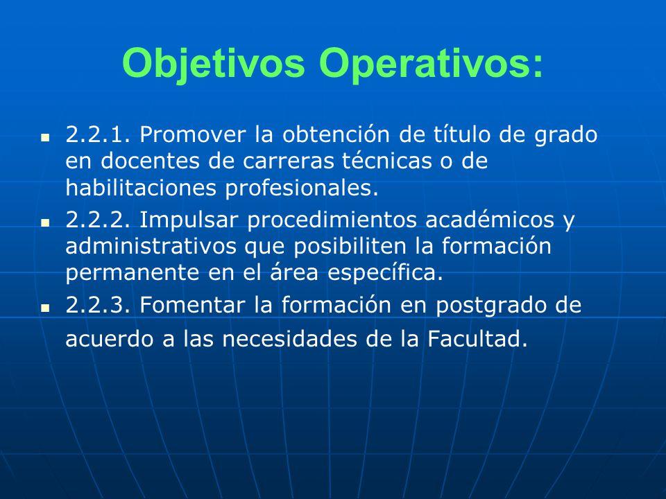 Objetivos Operativos: 2.2.1.