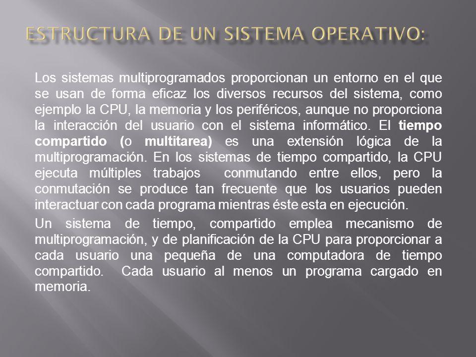 Los sistemas multiprogramados proporcionan un entorno en el que se usan de forma eficaz los diversos recursos del sistema, como ejemplo la CPU, la memoria y los periféricos, aunque no proporciona la interacción del usuario con el sistema informático.