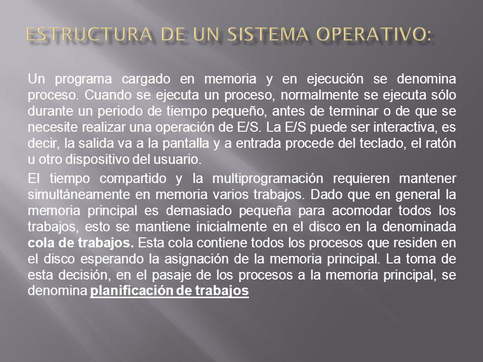 Un programa cargado en memoria y en ejecución se denomina proceso.