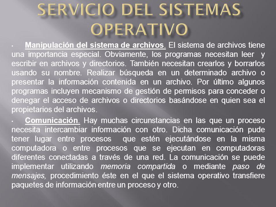 Manipulación del sistema de archivos.El sistema de archivos tiene una importancia especial.