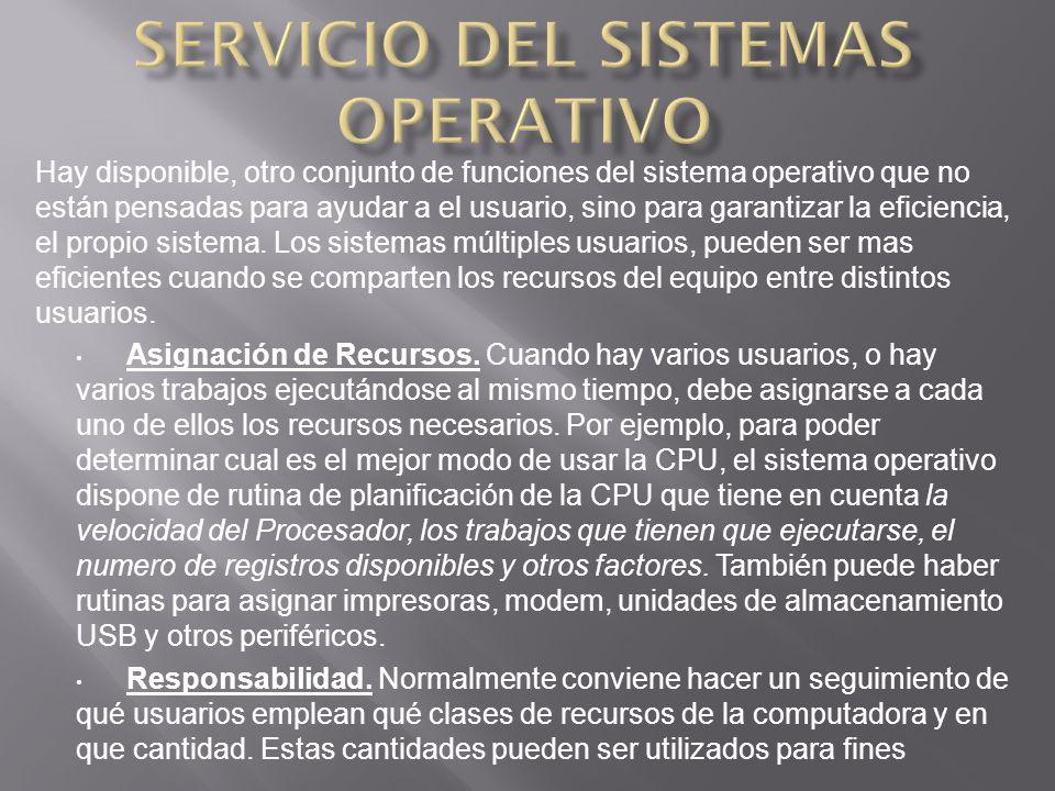 Hay disponible, otro conjunto de funciones del sistema operativo que no están pensadas para ayudar a el usuario, sino para garantizar la eficiencia, el propio sistema.
