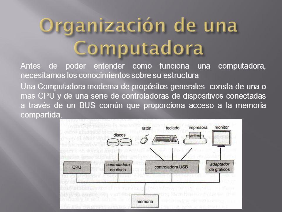 Antes de poder entender como funciona una computadora, necesitamos los conocimientos sobre su estructura Una Computadora moderna de propósitos generales consta de una o mas CPU y de una serie de controladoras de dispositivos conectadas a través de un BUS común que proporciona acceso a la memoria compartida.