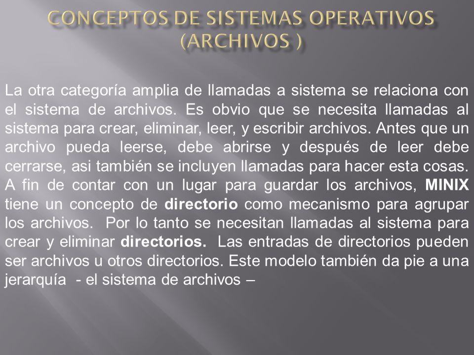 La otra categoría amplia de llamadas a sistema se relaciona con el sistema de archivos.