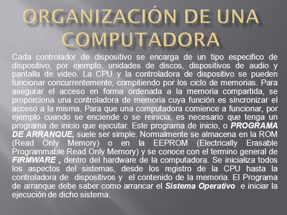 Cada controlador de dispositivo se encarga de un tipo especifico de dispositivo, por ejemplo, unidades de discos, dispositivos de audio y pantalla de video.