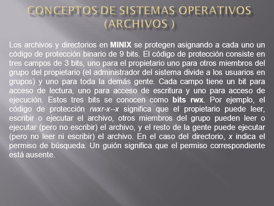 Los archivos y directorios en MINIX se protegen asignando a cada uno un código de protección binario de 9 bits.