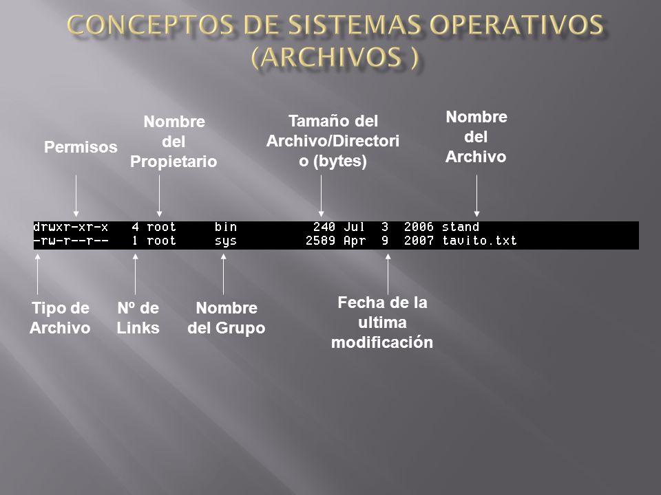 Tipo de Archivo Permisos Nombre del Propietario Nombre del Grupo Tamaño del Archivo/Directori o (bytes) Fecha de la ultima modificación Nombre del Archivo Nº de Links