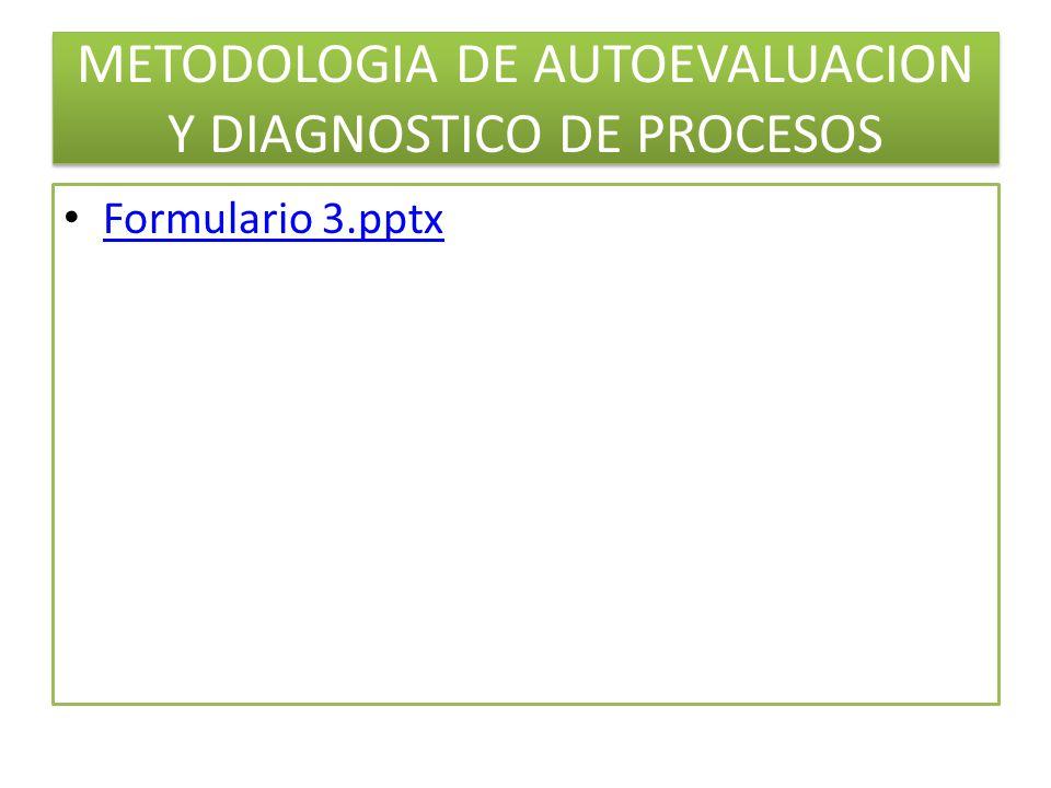 METODOLOGIA DE AUTOEVALUACION Y DIAGNOSTICO DE PROCESOS Formulario 3.pptx