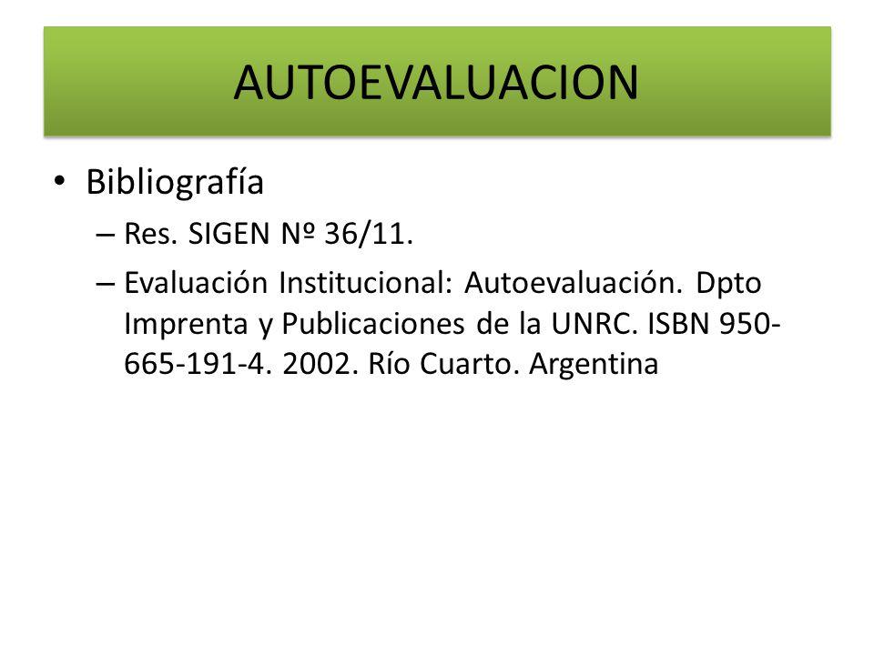Bibliografía – Res. SIGEN Nº 36/11. – Evaluación Institucional: Autoevaluación. Dpto Imprenta y Publicaciones de la UNRC. ISBN 950- 665-191-4. 2002. R