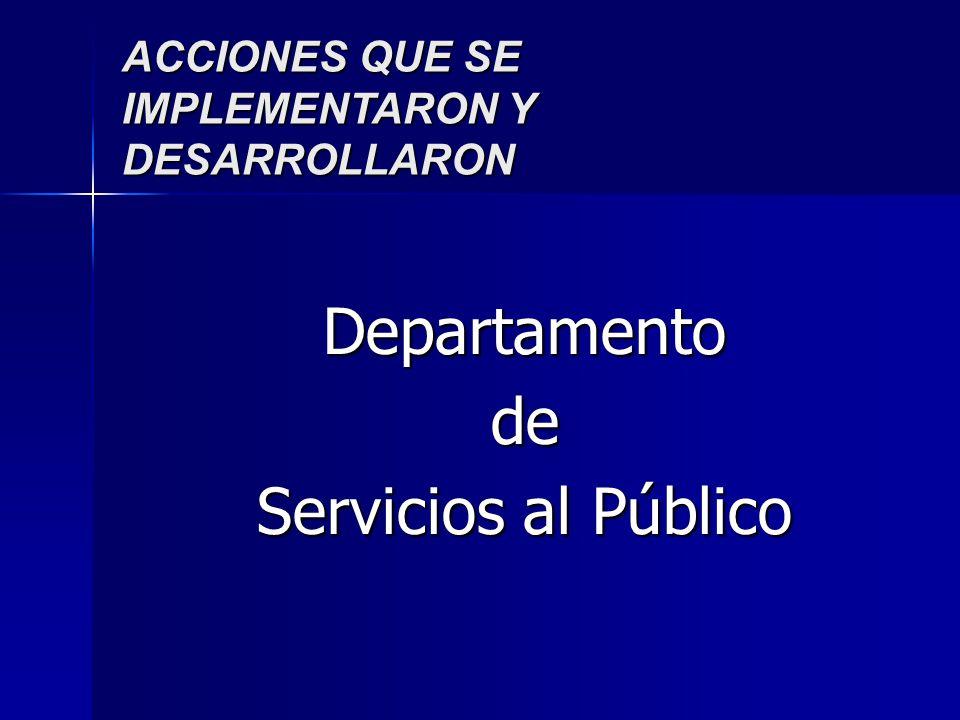 ACCIONES QUE SE IMPLEMENTARON Y DESARROLLARON Departamentode Servicios al Público
