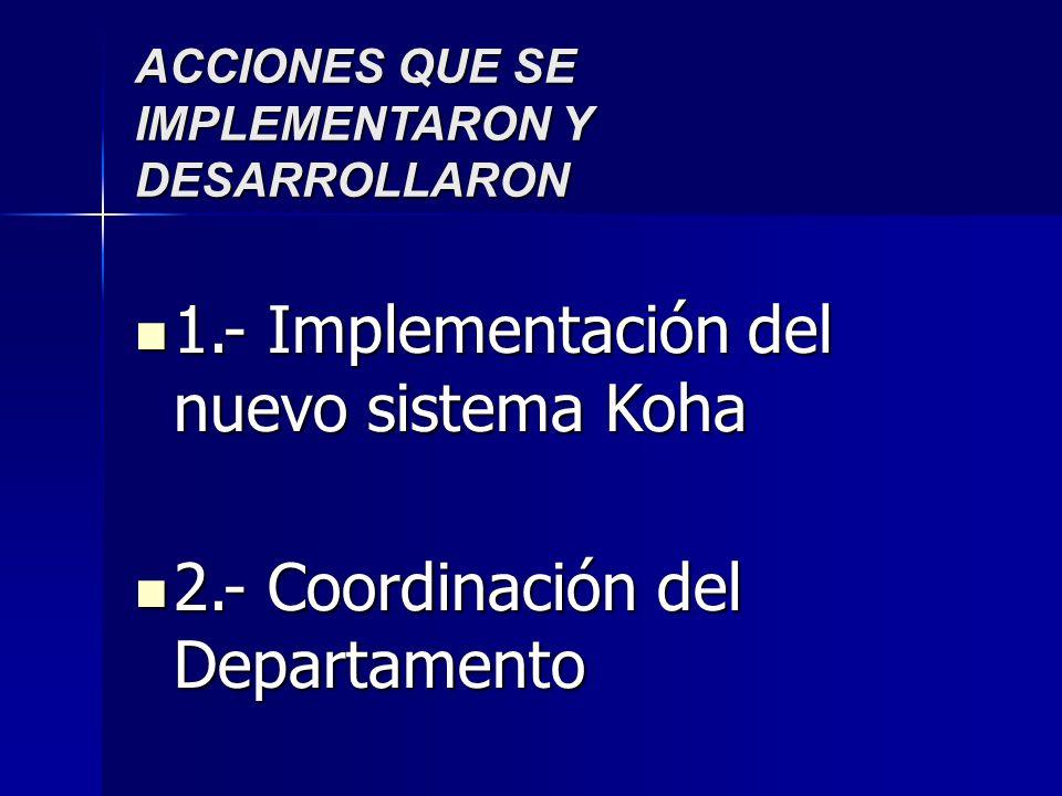 ACCIONES QUE SE IMPLEMENTARON Y DESARROLLARON 1.- Implementación del nuevo sistema Koha 1.- Implementación del nuevo sistema Koha 2.- Coordinación del