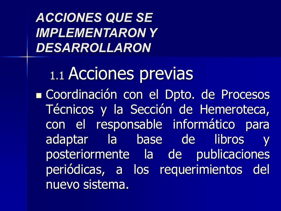 ACCIONES QUE SE IMPLEMENTARON Y DESARROLLARON 1.1 Acciones previas Coordinación con el Dpto. de Procesos Técnicos y la Sección de Hemeroteca, con el r