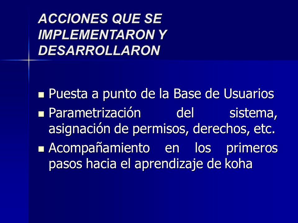 ACCIONES QUE SE IMPLEMENTARON Y DESARROLLARON Puesta a punto de la Base de Usuarios Puesta a punto de la Base de Usuarios Parametrización del sistema, asignación de permisos, derechos, etc.