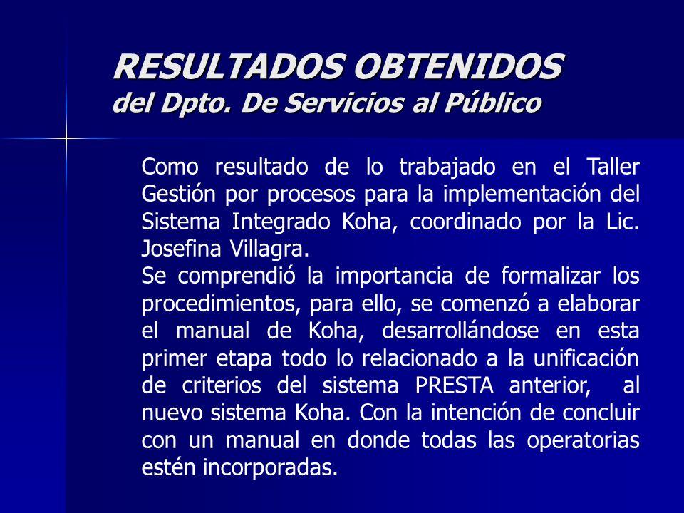 RESULTADOS OBTENIDOS del Dpto.