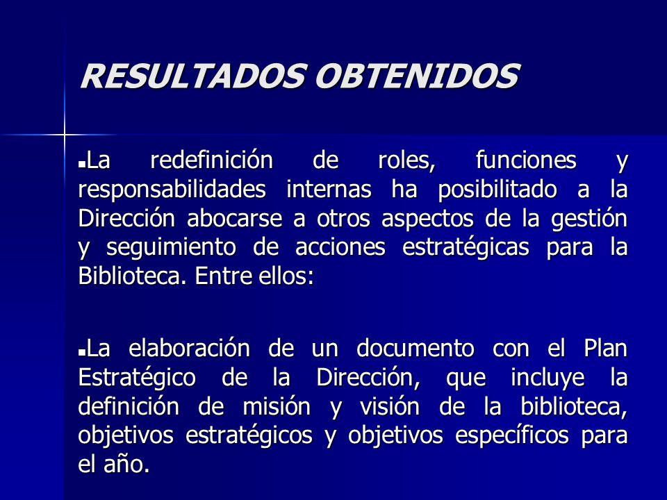 RESULTADOS OBTENIDOS La redefinición de roles, funciones y responsabilidades internas ha posibilitado a la Dirección abocarse a otros aspectos de la g