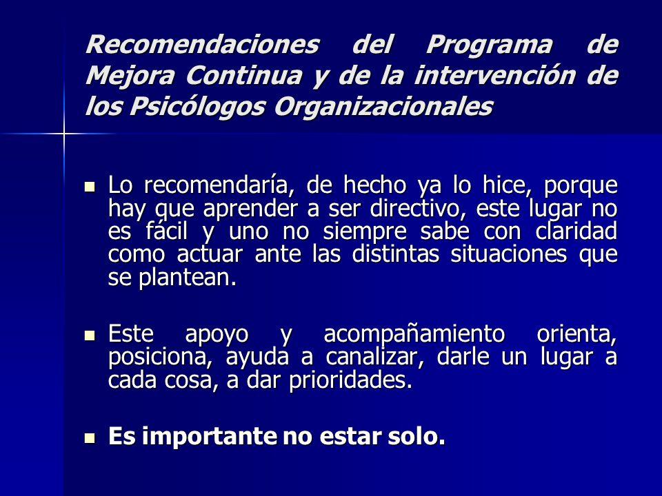 Recomendaciones del Programa de Mejora Continua y de la intervención de los Psicólogos Organizacionales Lo recomendaría, de hecho ya lo hice, porque h