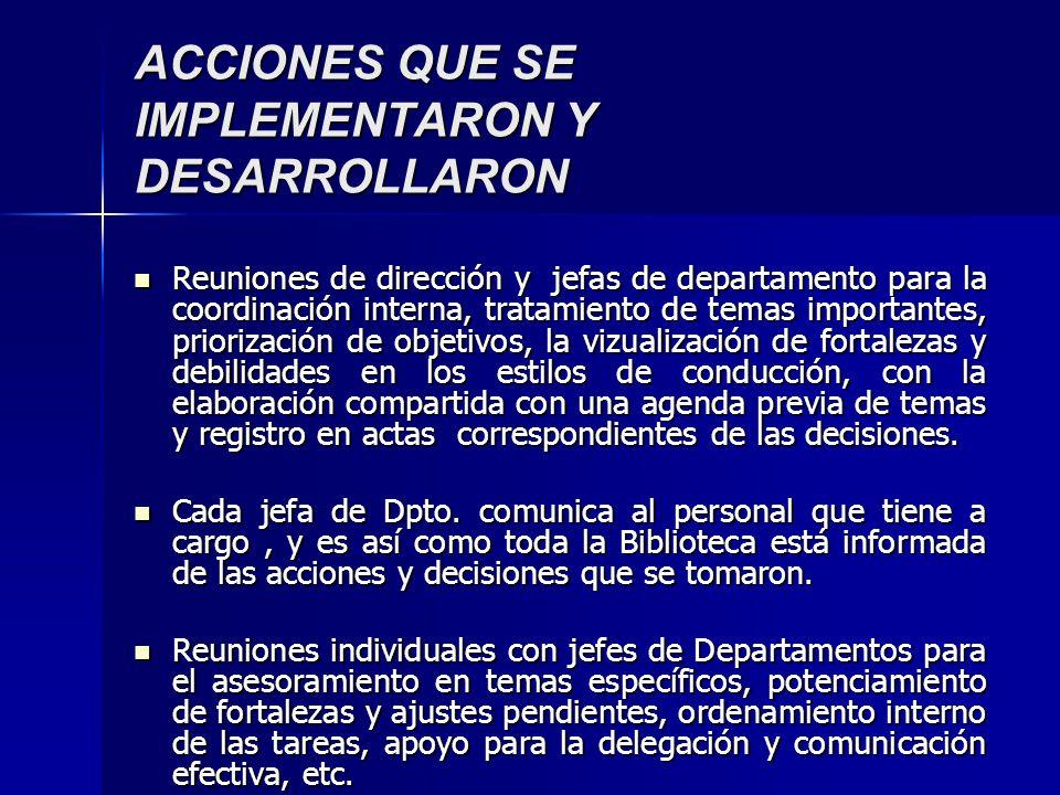 ACCIONES QUE SE IMPLEMENTARON Y DESARROLLARON Reuniones de dirección y jefas de departamento para la coordinación interna, tratamiento de temas import