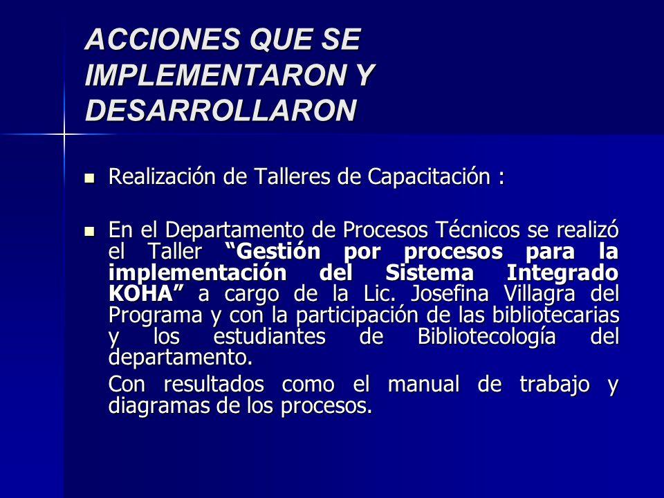 ACCIONES QUE SE IMPLEMENTARON Y DESARROLLARON Realización de Talleres de Capacitación : Realización de Talleres de Capacitación : En el Departamento d