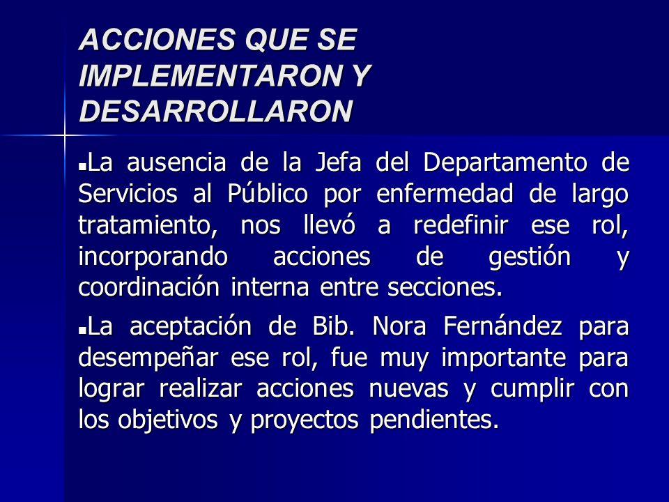 ACCIONES QUE SE IMPLEMENTARON Y DESARROLLARON La ausencia de la Jefa del Departamento de Servicios al Público por enfermedad de largo tratamiento, nos