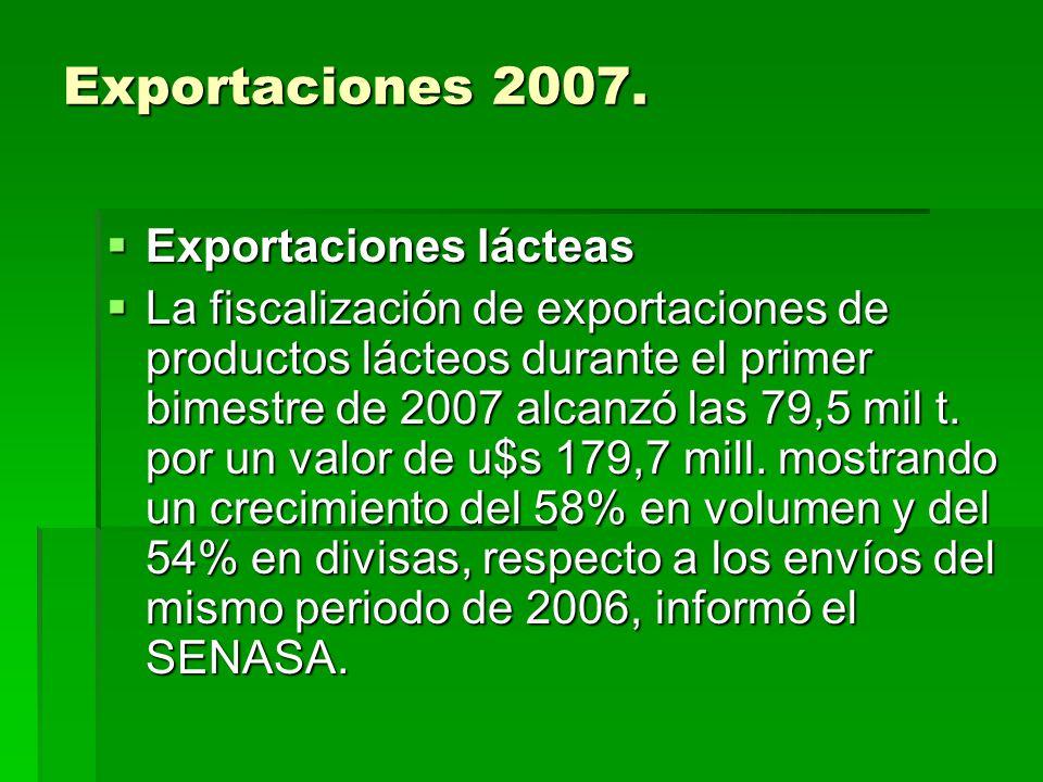Exportaciones 2007. Exportaciones lácteas Exportaciones lácteas La fiscalización de exportaciones de productos lácteos durante el primer bimestre de 2