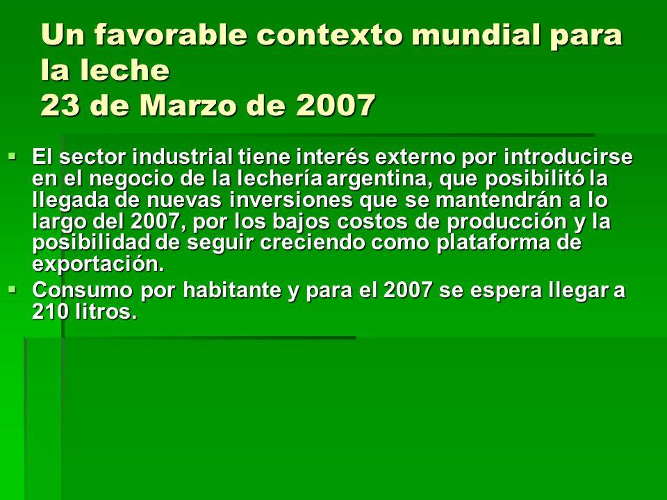 Un favorable contexto mundial para la leche 23 de Marzo de 2007 El sector industrial tiene interés externo por introducirse en el negocio de la lecher