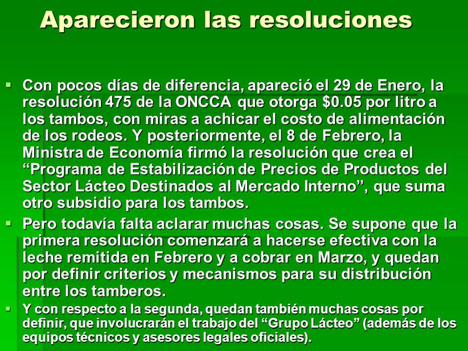 Aparecieron las resoluciones Con pocos días de diferencia, apareció el 29 de Enero, la resolución 475 de la ONCCA que otorga $0.05 por litro a los tam