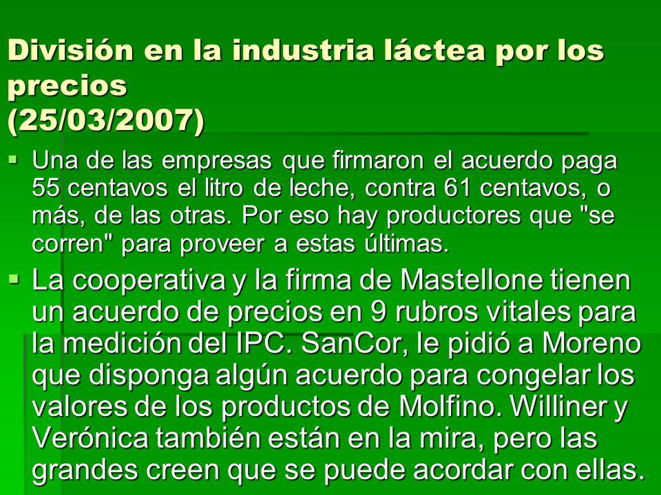 División en la industria láctea por los precios (25/03/2007) Una de las empresas que firmaron el acuerdo paga 55 centavos el litro de leche, contra 61
