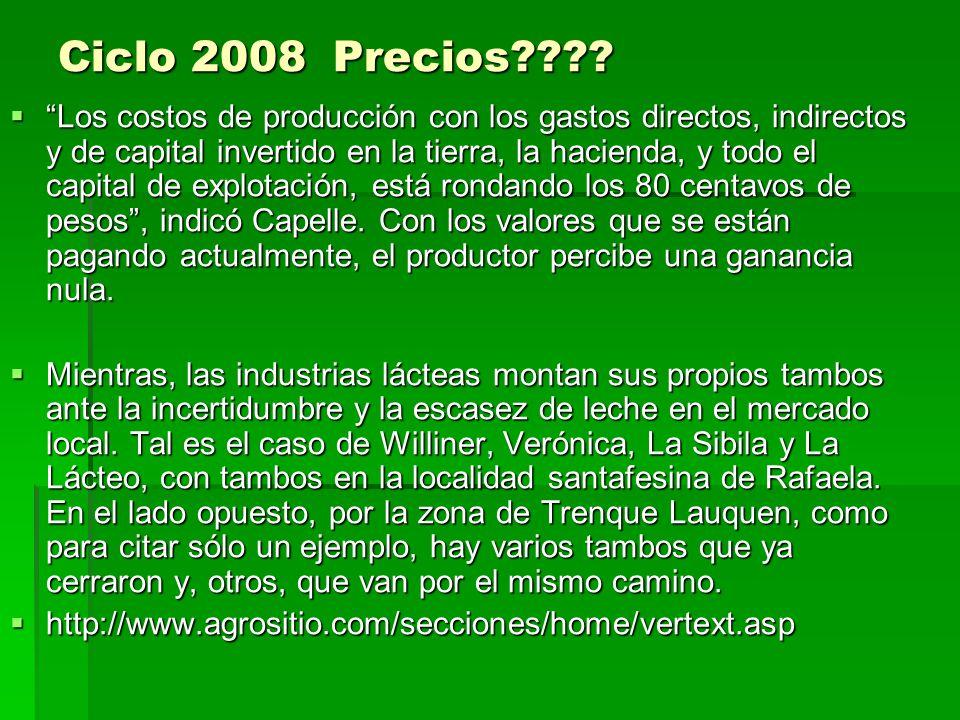 Ciclo 2008 Precios???? Los costos de producción con los gastos directos, indirectos y de capital invertido en la tierra, la hacienda, y todo el capita