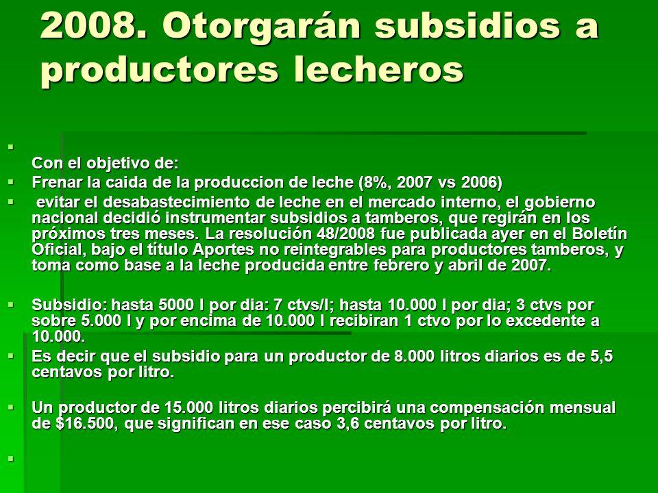 2008. Otorgarán subsidios a productores lecheros Con el objetivo de: Con el objetivo de: Frenar la caida de la produccion de leche (8%, 2007 vs 2006)