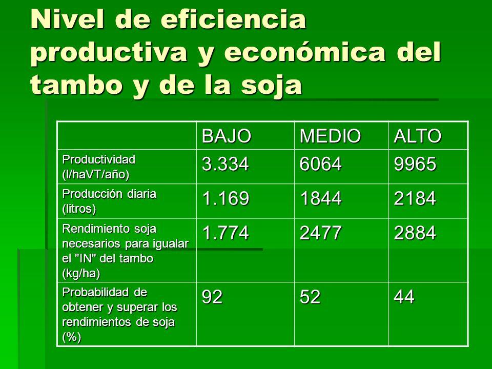 Nivel de eficiencia productiva y económica del tambo y de la soja BAJOMEDIOALTO Productividad (l/haVT/año) 3.33460649965 Producción diaria (litros) 1.