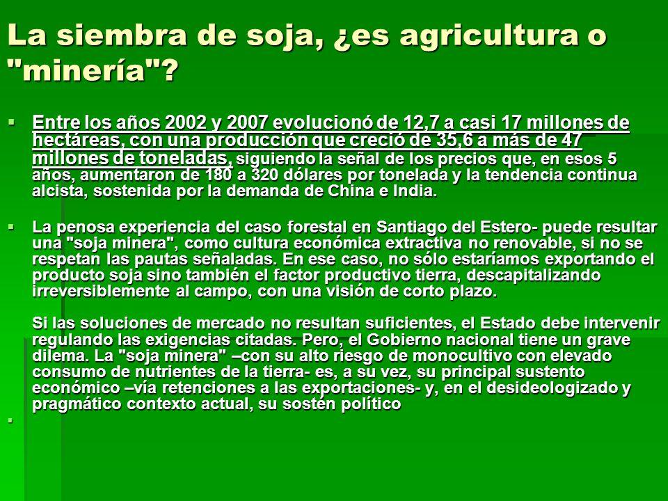 La siembra de soja, ¿es agricultura o