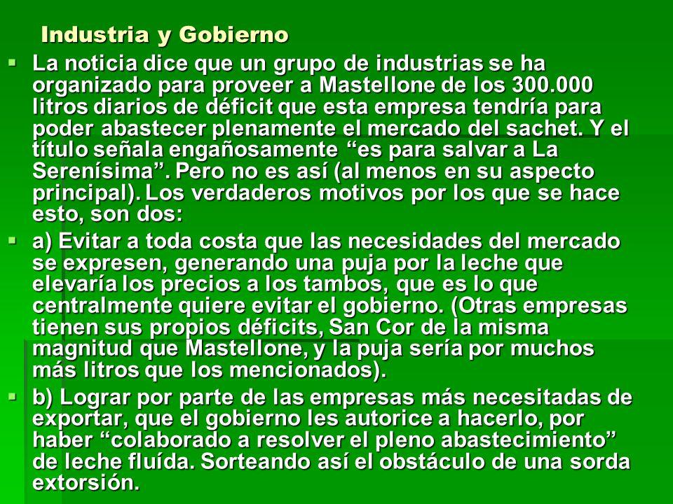 Industria y Gobierno La noticia dice que un grupo de industrias se ha organizado para proveer a Mastellone de los 300.000 litros diarios de déficit qu