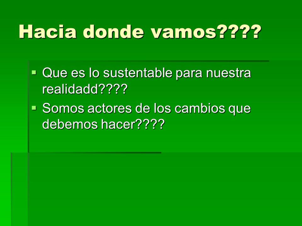 Hacia donde vamos???? Que es lo sustentable para nuestra realidadd???? Que es lo sustentable para nuestra realidadd???? Somos actores de los cambios q