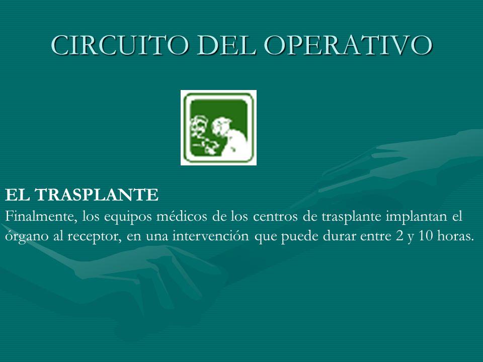 CIRCUITO DEL OPERATIVO EL TRASPLANTE Finalmente, los equipos médicos de los centros de trasplante implantan el órgano al receptor, en una intervención