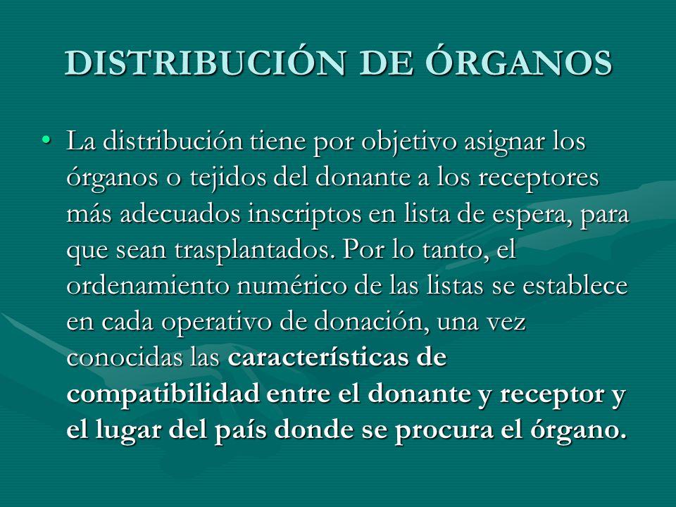 DISTRIBUCIÓN DE ÓRGANOS La distribución tiene por objetivo asignar los órganos o tejidos del donante a los receptores más adecuados inscriptos en list