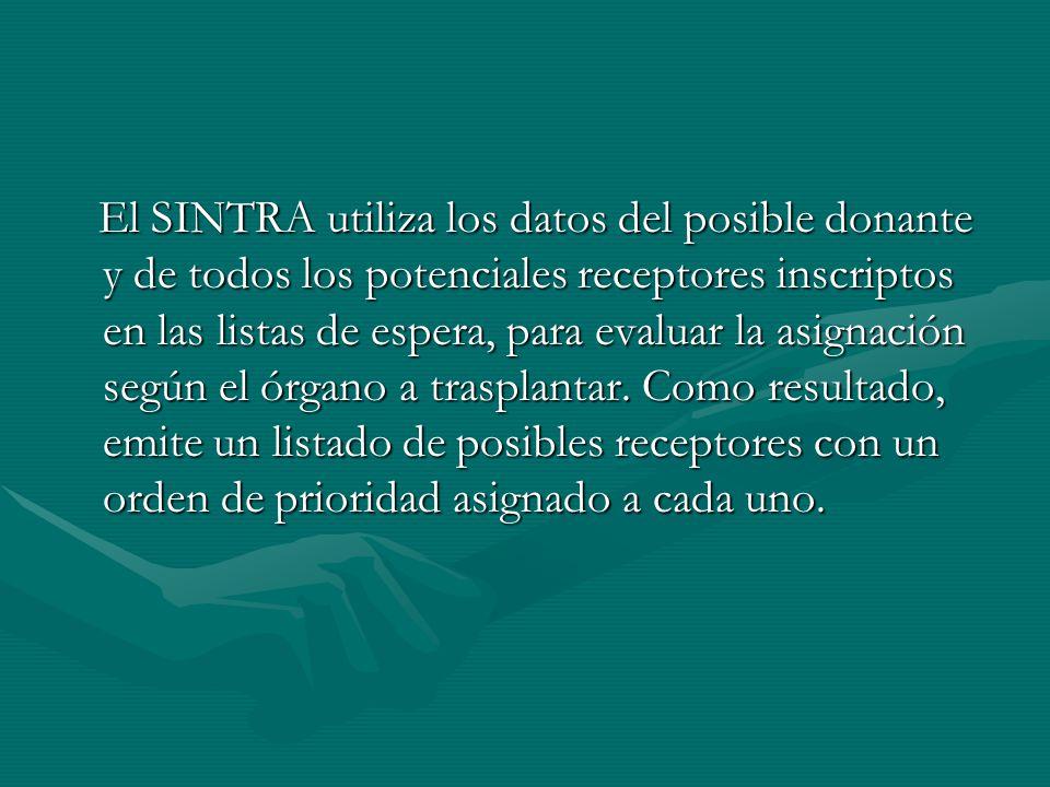 El SINTRA utiliza los datos del posible donante y de todos los potenciales receptores inscriptos en las listas de espera, para evaluar la asignación s