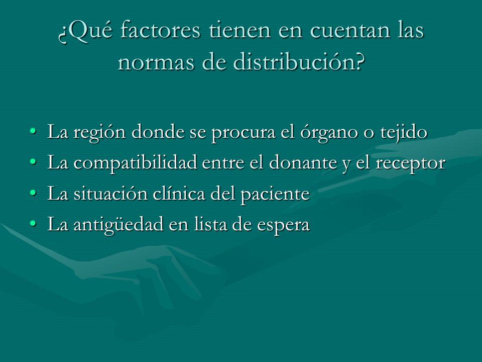 ¿Qué factores tienen en cuentan las normas de distribución? La región donde se procura el órgano o tejidoLa región donde se procura el órgano o tejido
