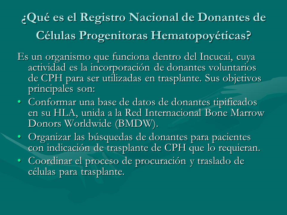 ¿Qué es el Registro Nacional de Donantes de Células Progenitoras Hematopoyéticas? Es un organismo que funciona dentro del Incucai, cuya actividad es l