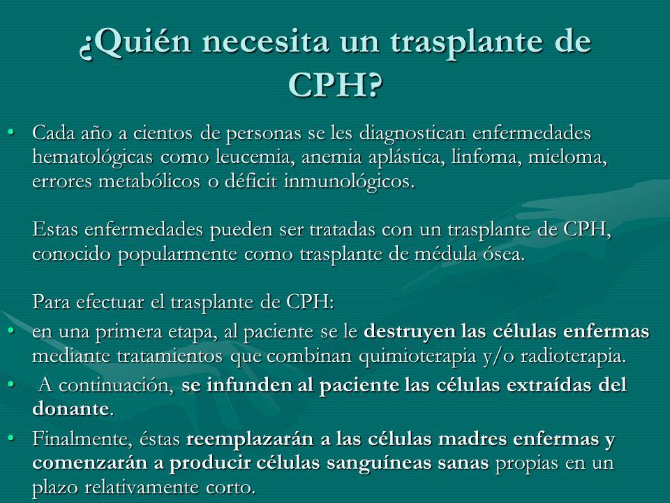 ¿Quién necesita un trasplante de CPH? Cada año a cientos de personas se les diagnostican enfermedades hematológicas como leucemia, anemia aplástica, l