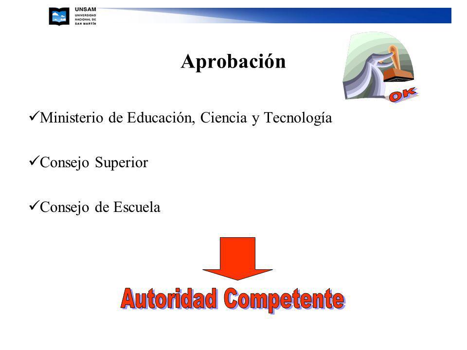 Aprobación Ministerio de Educación, Ciencia y Tecnología Consejo Superior Consejo de Escuela