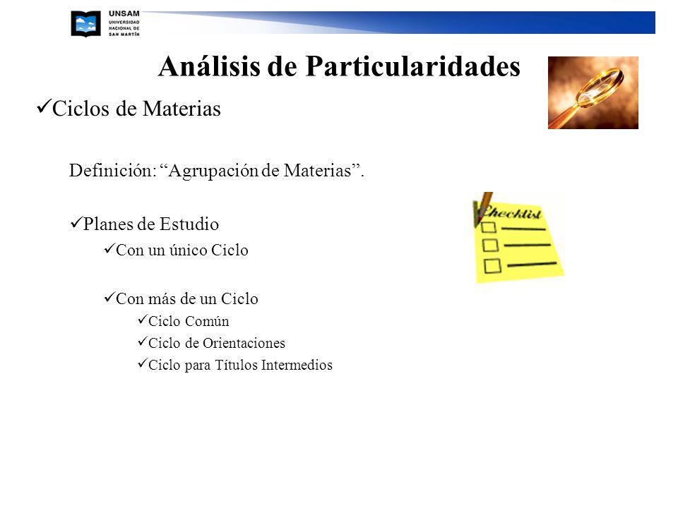 Análisis de Particularidades Ciclos de Materias Definición: Agrupación de Materias. Planes de Estudio Con un único Ciclo Con más de un Ciclo Ciclo Com
