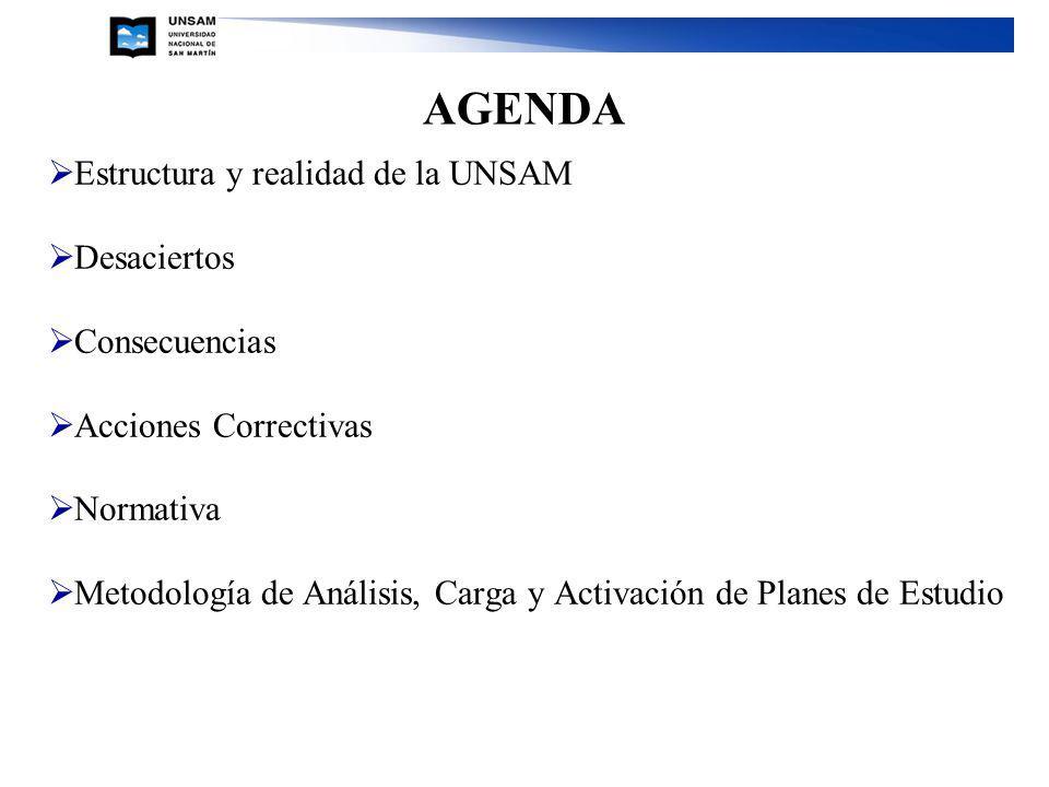 AGENDA Estructura y realidad de la UNSAM Desaciertos Consecuencias Acciones Correctivas Normativa Metodología de Análisis, Carga y Activación de Planes de Estudio