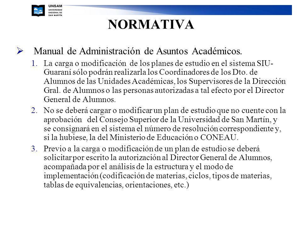 NORMATIVA Manual de Administración de Asuntos Académicos. 1.La carga o modificación de los planes de estudio en el sistema SIU- Guaraní sólo podrán re