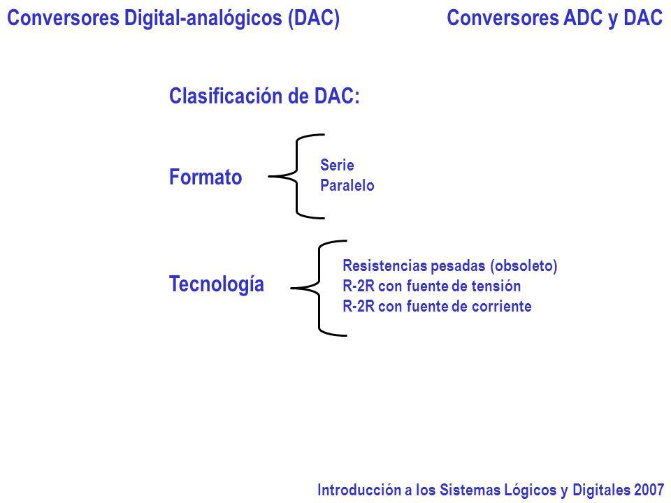 Introducción a los Sistemas Lógicos y Digitales 2007 Conversores ADC y DACConversores Digital-analógicos (DAC) Serie Paralelo Clasificación de DAC: Formato Tecnología Resistencias pesadas (obsoleto) R-2R con fuente de tensión R-2R con fuente de corriente